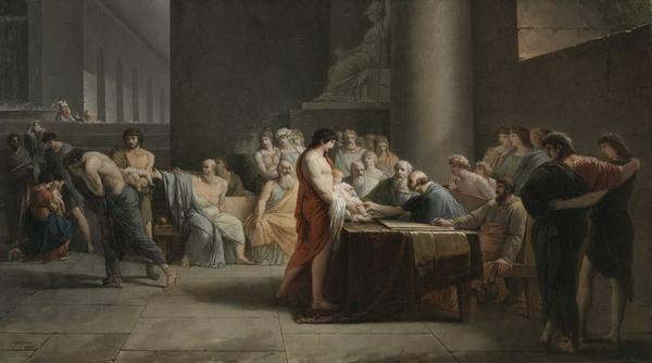 Jean Pierre Saint Ours   Gericht ueber die Neugeborenen Spartas   2358   Bavarian State Painting Collections