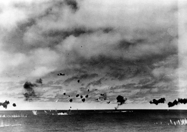 Wikimedia Commons  B5Ns attacking USS Yorktown at Midway 1942