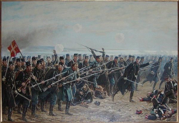 8 brigades angreb ved Dybboel 1864  malet i 1894 af Vilhelm Jacob Rosenstrand 1838 1915  Wikimedia Commons
