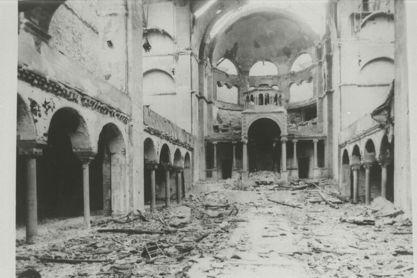 Interior view of the destroyed Fasanenstrasse Synagogue  Berlin