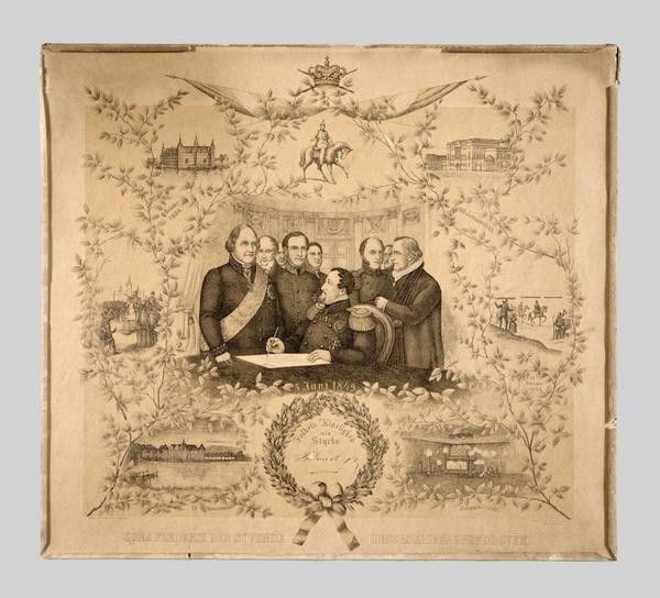 litografi af Frederik 7  der underskriver gl  CC BY SA Hagen og Sivertsen Stentryk  1874  Natmus
