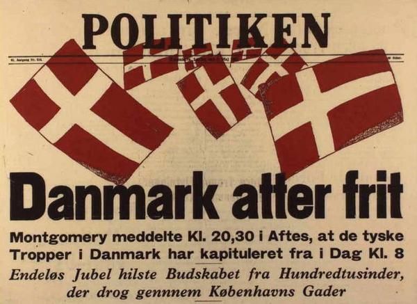 B   Danmark atter frit  Loebeseddel fra Politiken  5  maj 1945