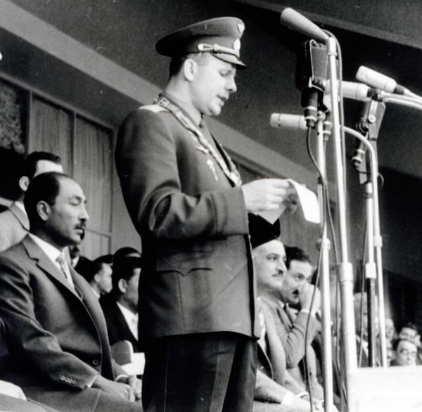 Gagarin and Nasser and Sadat in Cairo Egypt 01 02 1962