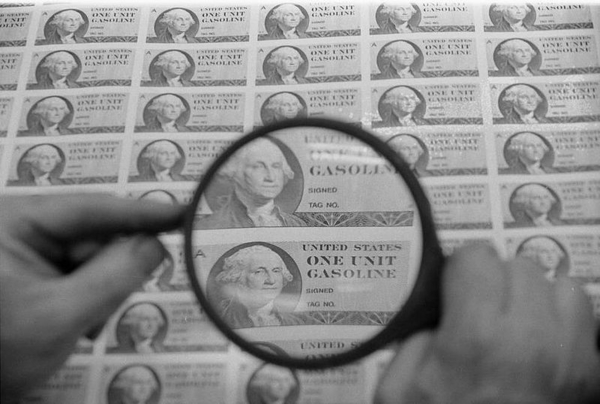U S  gas rationing stamps 1974  Warren K  Leffler  U S  News   World Report Magazine  Wikimedia Commons